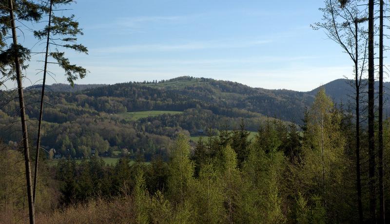 Odlesněný vrch Pardus (672 m) nad Rusavou.